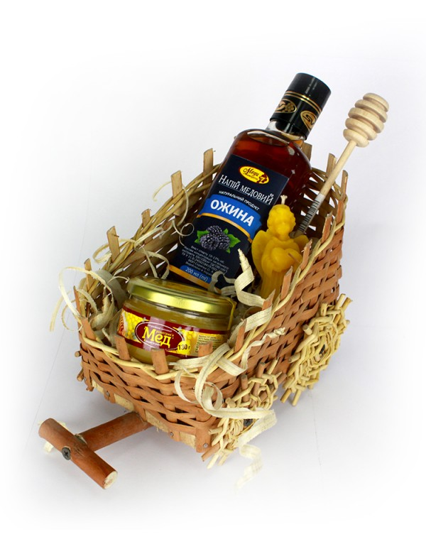 """Подарунковий набір """"Возик"""" (Напій медовий, свічка, мед, ложка)"""