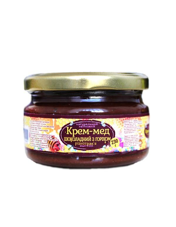 Крем-мед шоколадний із горіхами 230г